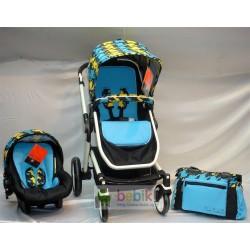 Коляска-трансформер Pierre Cardin PS с автолюлькой и сумкой для мамы (зима-лето)