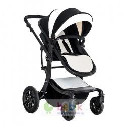 Детская универсальная коляска-трансформер Aimile (чёрно-белая экокожа)