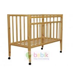 Детская кроватка с колёсиками - 314 (цвет берёза )