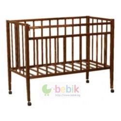 Детская кроватка с колёсиками - 315 (цвет тёмный орех)